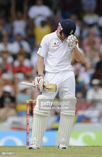 English cricket player Paul Collingwood reacts after being caught for 96 on the second day of the fourth test match between England and the West...