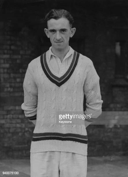 English cricketer Alec Coxon the Yorkshire CCC bowler during a match against Lancashire at Old Trafford in Manchester UK circa 1945