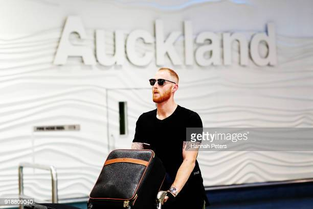 English cricketer Ben Stokes arrives at Auckland International Airport on February 16 2018 in Auckland New Zealand Stokes recently pleaded not guilty...