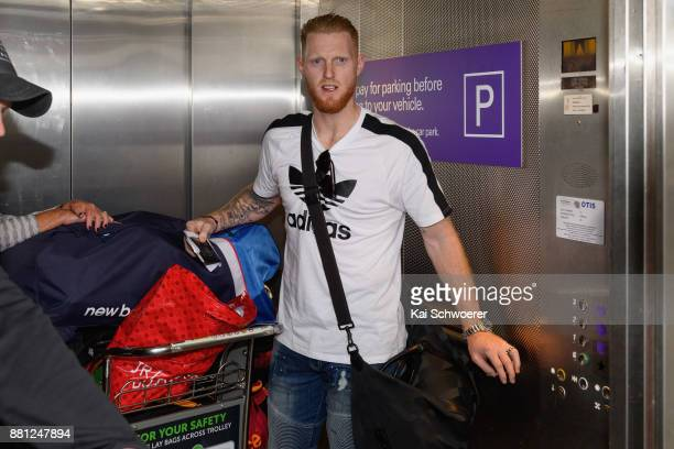 English cricketer Ben Stokes arrives at Christchurch Airport on November 29 2017 in Christchurch New Zealand Stokes flew in from the UK in...
