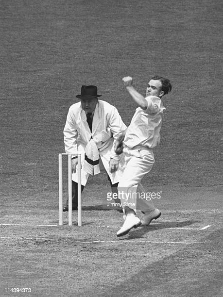 English cricketer Eddie Leadbeater bowling for Yorkshire CCC against Surrey in a County Championship match at The Oval London 14th17th July 1951 The...
