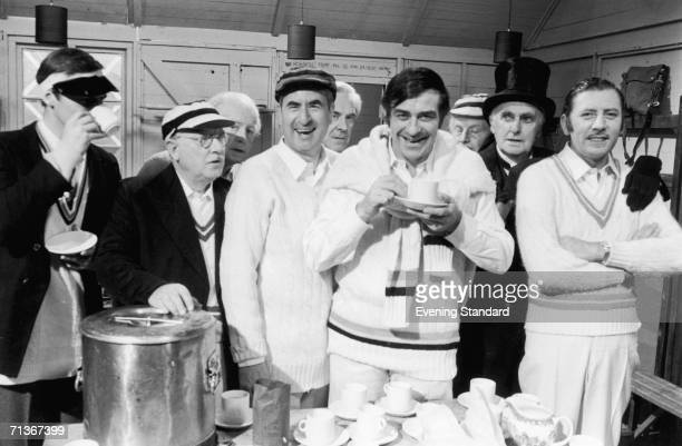 English cricketer Fred Trueman with members of the cast of the British TV sitcom 'Dad's Army' November 1970 Left to right Ian Lavender Arthur Lowe...