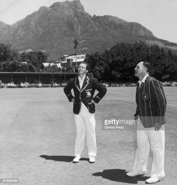 English cricketer George Mann and South African Dudley Nourse at the Newsland Ground in Cape Town before the third test match between the two sides...