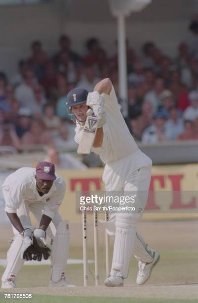 English cricketer Graeme Hick of the England cricket team pictured in action batting for England against West Indies during the 5th Test Match at...