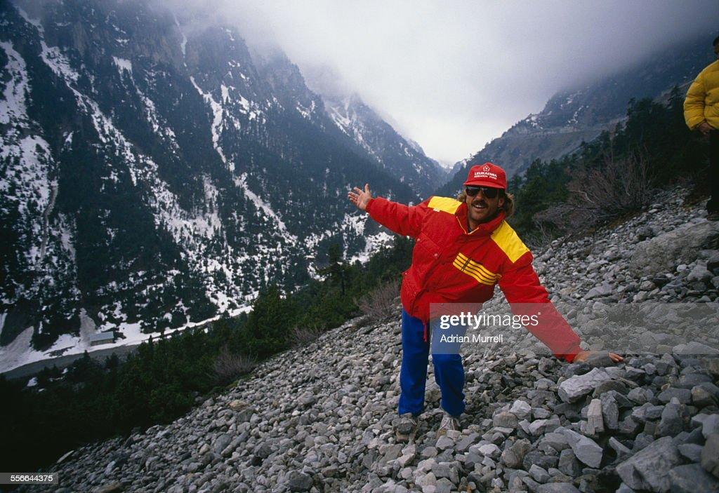 English cricketer Ian Botham recreates the trek of Hannibal across the Alps mountain range to raise funds for Leukaemia Research, 1988.