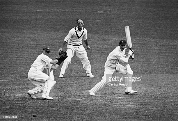 English cricketer Len Hutton batting against Australia during a test match at the Oval where he achieved a record 364 runs 23rd August 1938