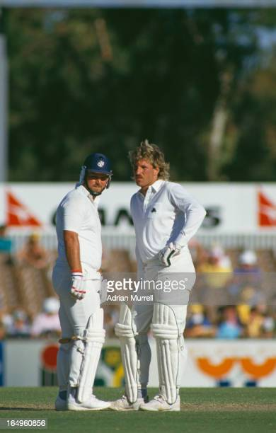 English cricketers Mike Gatting and Ian Botham during the 2nd test match between England and Australia at Perth Australia November 1986