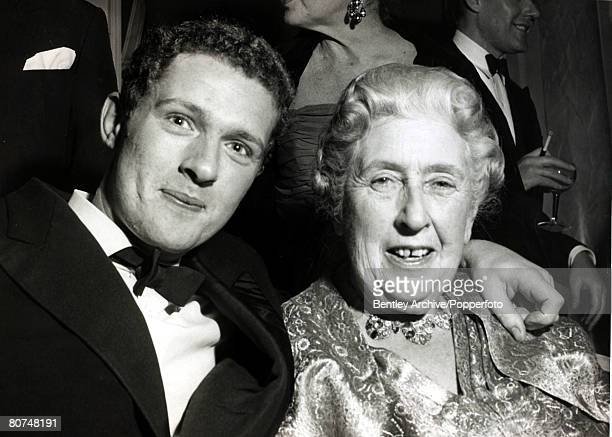 26th November 1962 English crime writer Agatha Christie with her grandson Matthew Pritchard who she had bequethed the royalties of her play 'The...