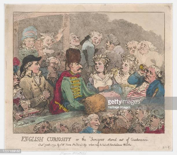 English Curiosity or The Foreigner Stared Out of Countenance January 1 1794 Artist Thomas Rowlandson