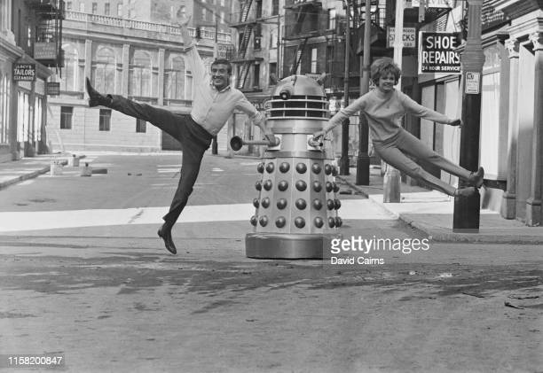 English dancer singer comedian actor television presenter and musician Roy Castle and English actor Jennie Linden on the set of British science...
