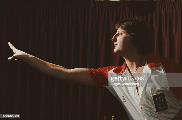 English darts player Eric Bristow plays for the BDO circa 1985