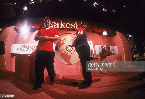 English darts player Phil Taylor competing in the World Professional Darts Championship at the Lakeside Country Club at Frimley Green Surrey January...