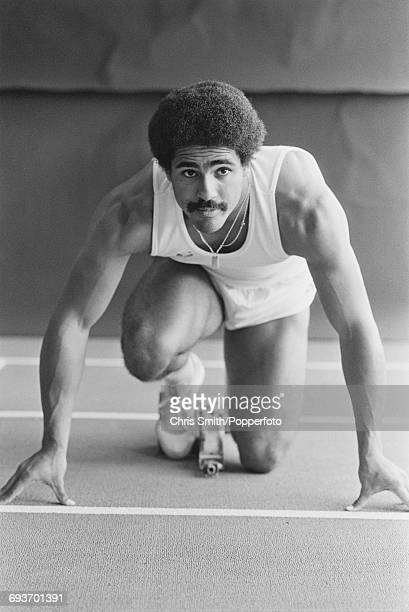 English decathlete Daley Thompson pictured in sprint training from starting blocks on an indoor athletics track in England in September 1981 Daley...