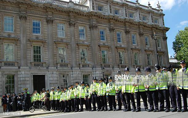 English Defence League, EDL, stage protest at Whitehall following the killing of soldier Lee Rigby. Heavy police presence for the demonstration.