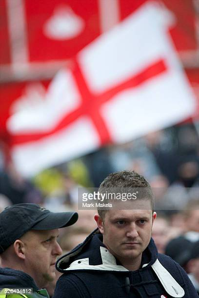 English Defence League founder Tommy Robinson protests in Luton Hertfordshire England on February 5 2011 Approximately 3000 protestors gathered for...