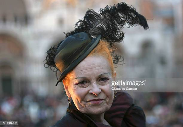 English designer Vivienne Westwood attends the 2005 Venice Carnival on February 5 2005 in Venice Italy The famous Venice carnival features parades...