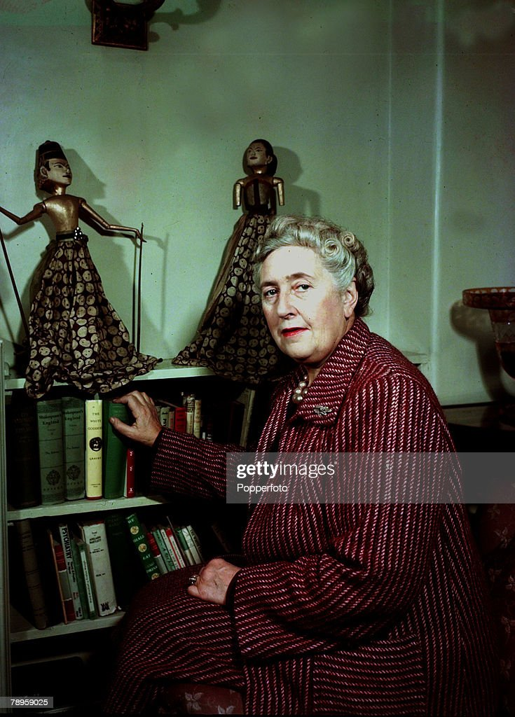 1949, English detective novelist Agatha Christie, (1890-1976) pictured at her home, She created the characters Hercule Poirot and Miss Marple