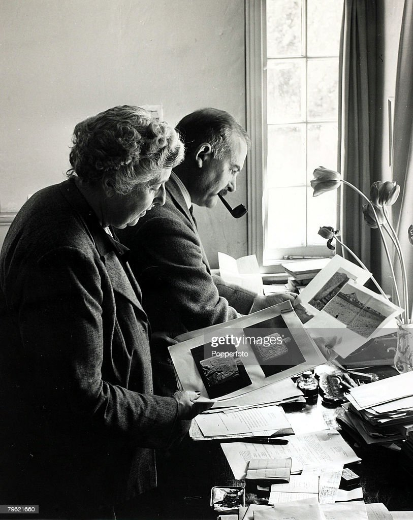 January 1946, English crime writer Agatha Christie pictured with her husband Prof, Max Mallowan at their home, Winterbrook House, Wallingford,Agatha Christie, (1890-1976), the world's best known mystery writer, famous for her Hercule Poirot and Miss Marple stories, and for her plays including 'The Mousetrap'