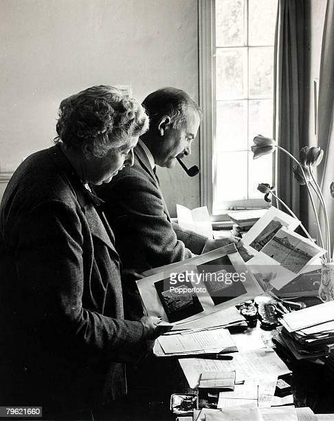 January 1946 English crime writer Agatha Christie pictured with her husband Prof Max Mallowan at their home Winterbrook House WallingfordAgatha...