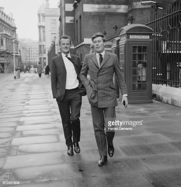 English director and producer Tony Richardson and English playwright screenwriter and actor John Osborne outside the High Court of Justice for a...
