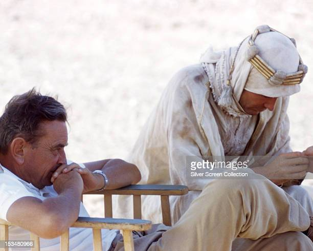 English director David Lean with English actor Peter O'Toole during location filming for 'Lawrence Of Arabia', 1962.