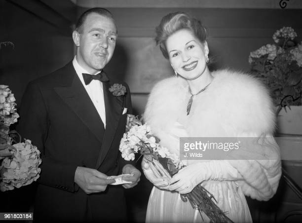 English director Ronald Neame and actress Greta Gynt at the Odeon Leicester Square in London for the world premiere of the Cineguild film 'Take My...