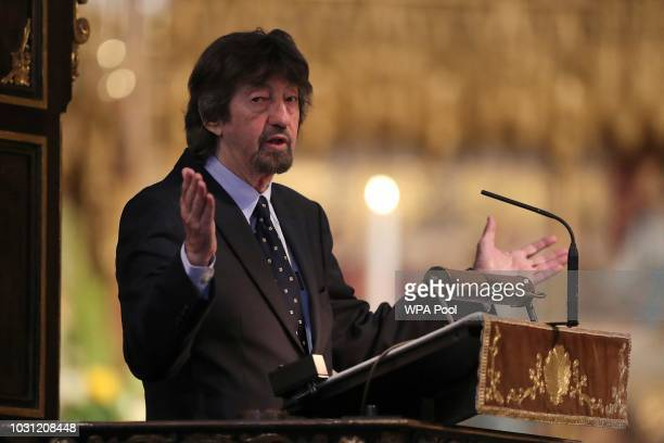 English director Sir Trevor Nunn speaks during a service of thanksgiving for the late English theatre opera and film director Peter Hall at...