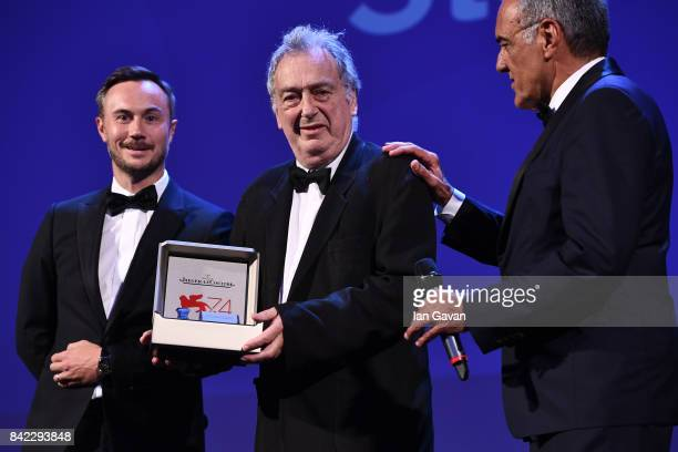 English Director Stephen Frears receives The Jaeger-LeCoultre Glory To The Filmmaker Award and Reverso engraved watched from Chief Marketing Officer...