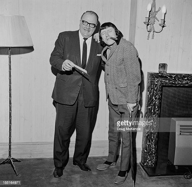English disc jockey and television presenter Jimmy Savile with Geoffrey Everett of Radio Luxembourg March 1966