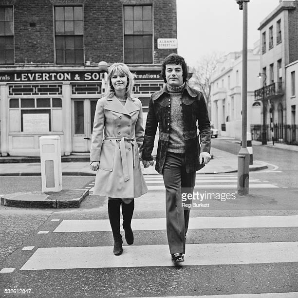 English disc jockey Tony Blackburn with his bride-to-be English actress Tessa Wyatt, London, 24th February 1972.