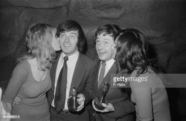 English disc jockeys Tony Brandon Radio 1 and Tony Blackburn Radio 2 are awarded as BBC top disc jockeys UK 22nd November 1977