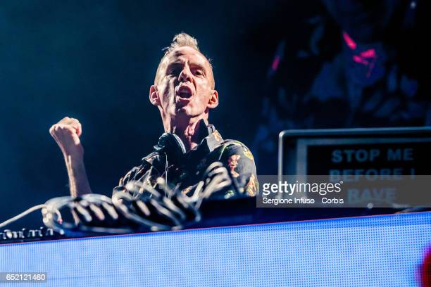 English DJ musician and record producer/mixer Fatboy Slim performs on stage on March 10 2017 in Milan Italy