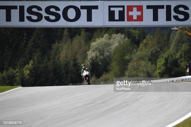 45 English driver Scott Redding of Team Aprilia Racing Team Gresini race during qualifying of Austrian MotoGP grand prix in Red Bull Ring in...