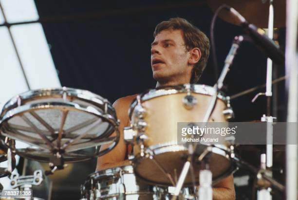 English drummer Bill Bruford performing with English progressive rock supergroup UK in Central Park New York City 7th July 1978 The band are...
