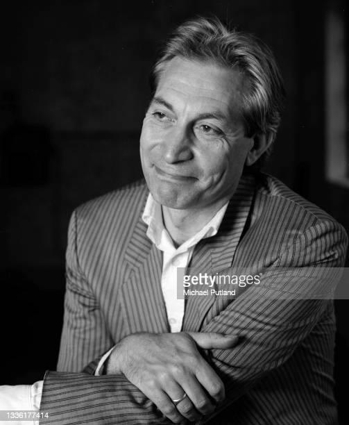 English drummer Charlie Watts of the Rolling Stones, during a break from rehearsals with his jazz ensemble, the Charlie Watts Orchestra, London, 1987.