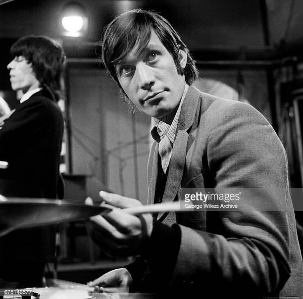 English drummer Charlie Watts of The Rolling Stones during rehearsals for an episode of the Friday night TV pop/rock show 'Ready Steady Go' at...