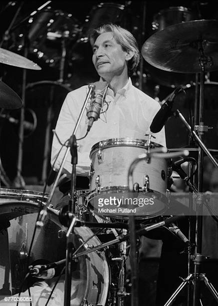 English drummer Charlie Watts performing on stage at a charity concert for ARMS held at the Royal Albert Hall London 20th September 1983