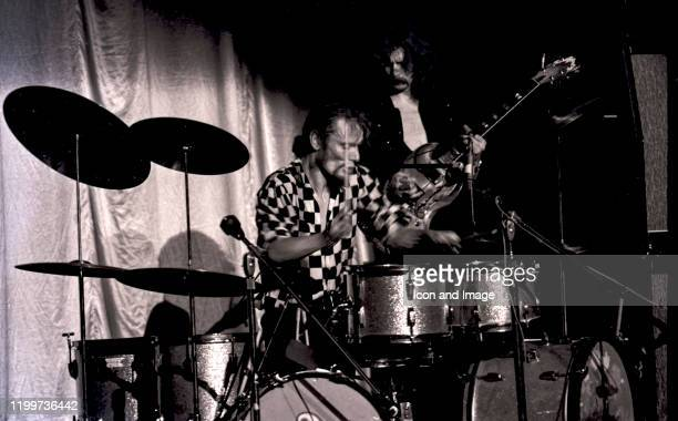 English drummer Ginger Baker and English rock and blues guitarist singer and songwriter Eric Clapton perform with Cream at the Sam Houston Coliseum...