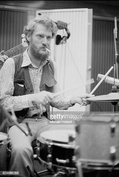 English drummer Ginger Baker, of rock group the Baker Gurvitz Army, in a studio, August 1974.