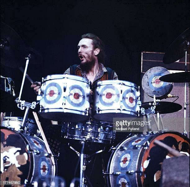 English drummer Ginger Baker performs on stage with Ginger Baker's Air Force, Plumpton Festival, East Sussex, 24th April 1970.