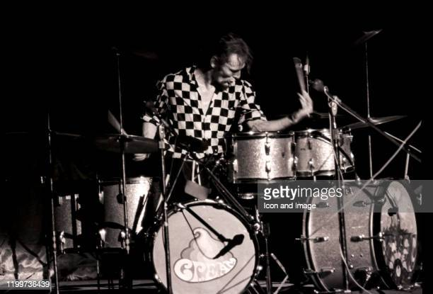 English drummer, Ginger Baker, performs with Cream at the Sam Houston Coliseum on March 31 in Houston, TX.