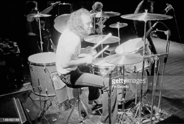 English drummer Ian Paice performing with Deep Purple Australia February 1975