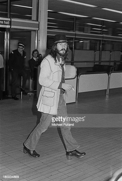 English drummer John Bonham arriving at London Airport after a the first leg of a US tour with Led Zeppelin 5th June 1973