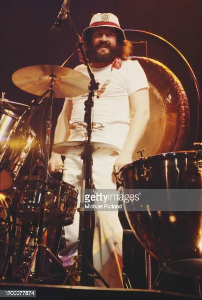 English drummer John Bonham performing with rock group Led Zeppelin at Madison Square Garden, New York City, June 1977.