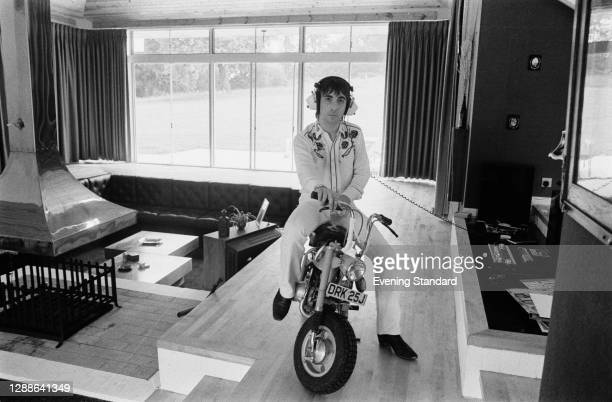 English drummer Keith Moon of rock band the Who at Tara House, his new home in Chertsey, Surrey, UK, August 1971.