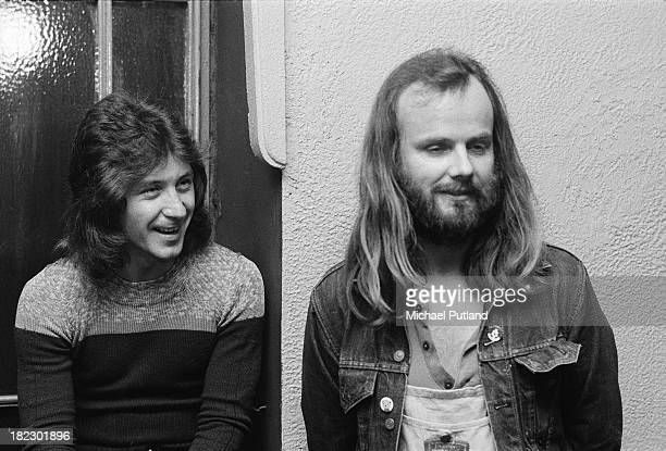 English drummer Kenney Jones of rock group Faces with BBC Radio 1 DJ John Peel backstage at a concert by Dr John London 3rd July 1973