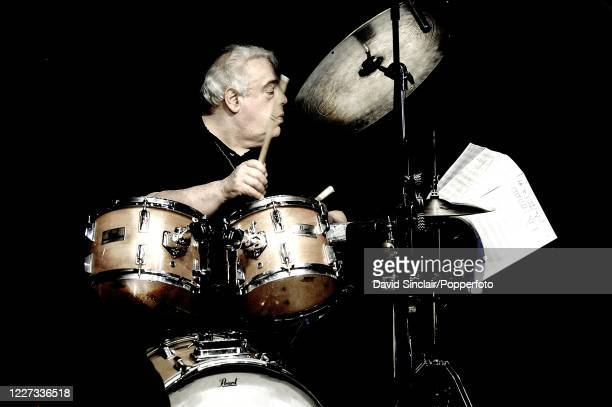 English drummer Martin Drew performs live on stage during a Tribute to Oscar Peterson concert at Ronnie Scott's Jazz Club in Soho London on 17th...
