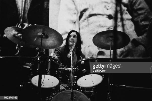 English drummer Mick Avory of rock band The Kinks performing live circa 1975