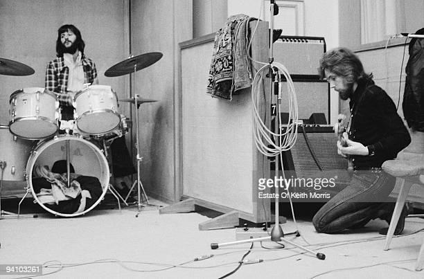 English drummer Ringo Starr and German bassist Klaus Voormann in a London recording studio June 1971 They are working on American blues singer and...