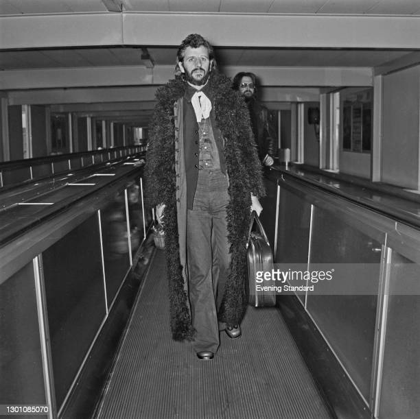 English drummer Ringo Starr, formerly of the Beatles, leaves Heathrow Airport in London for New York, UK, 3rd March 1973.